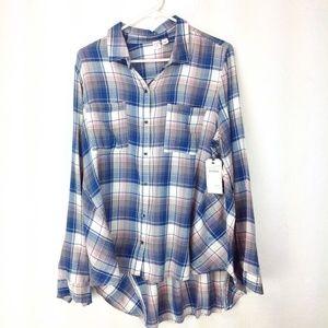 Blue Dark Twine Plaid Melrose and Market shirt